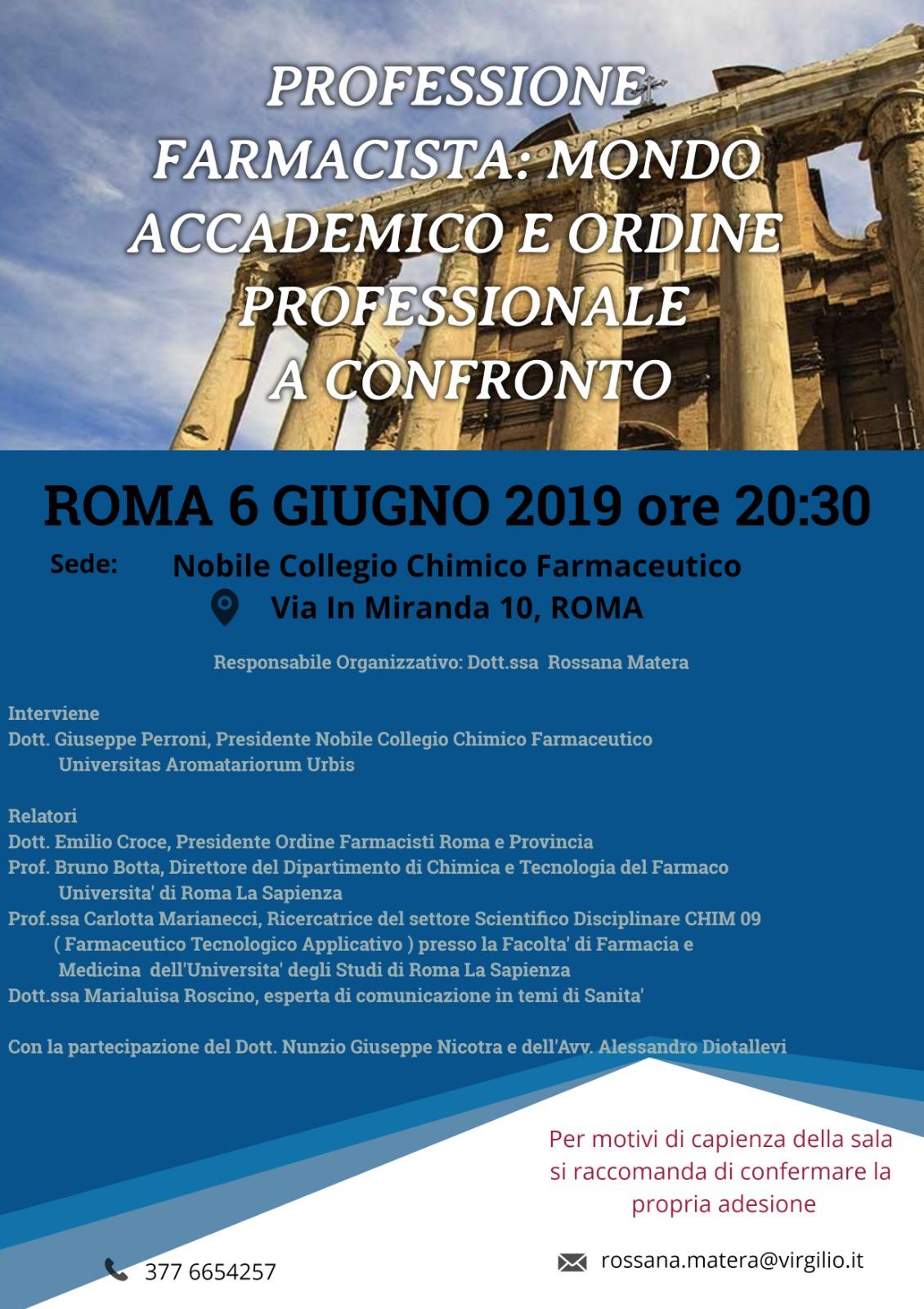 Roma, Università e Ordine a confronto per discutere del futuro della professione del farmacista
